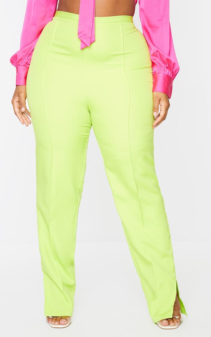 Plus Lime Pocket Back Split Hem Woven Pants 2