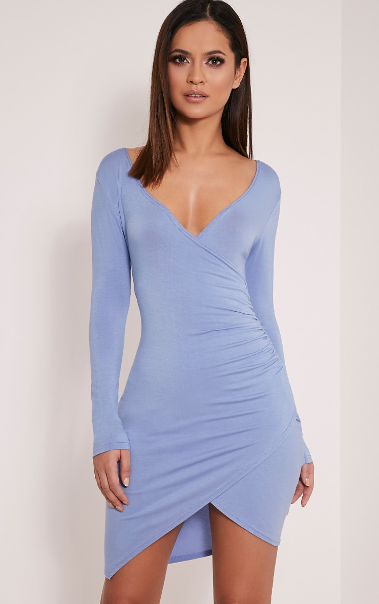 Kendi Dusty Blue Wrap Mini Dress 1