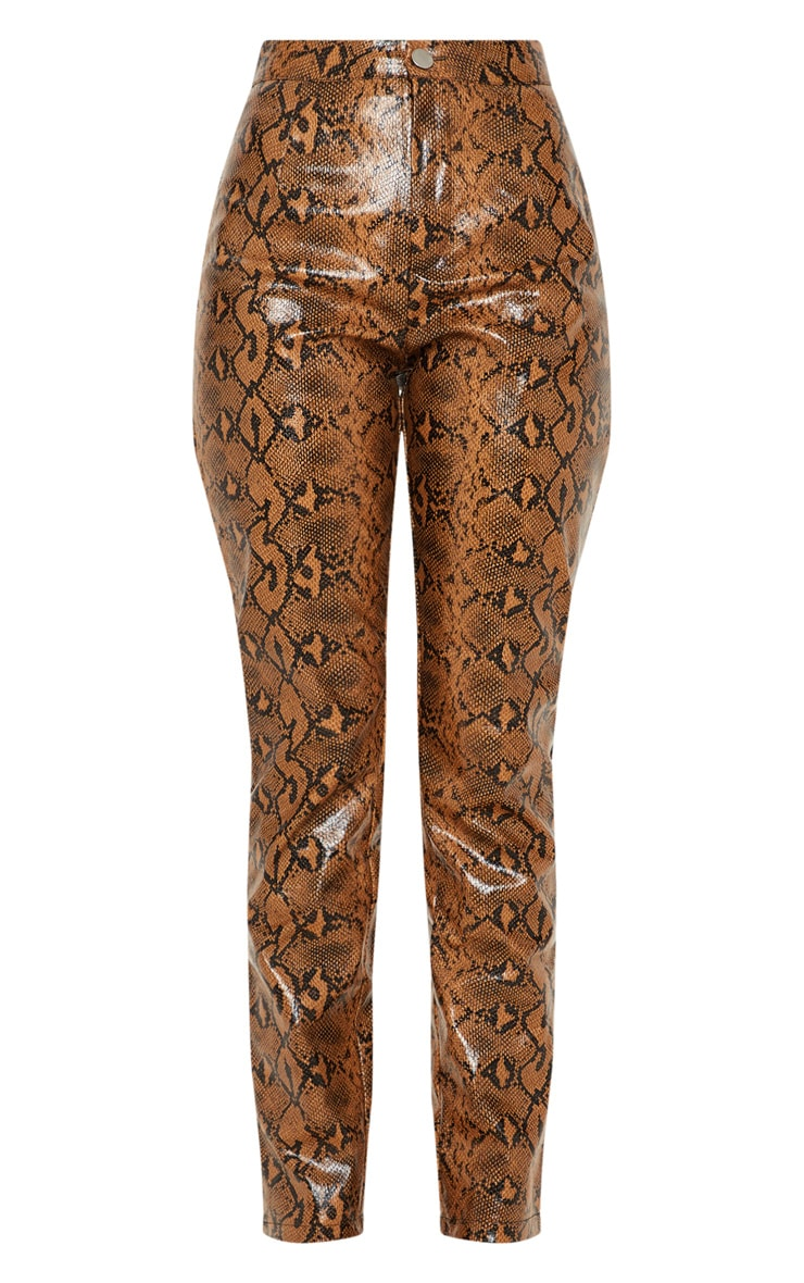 Pantalon droit en similicuir serpent marron 3
