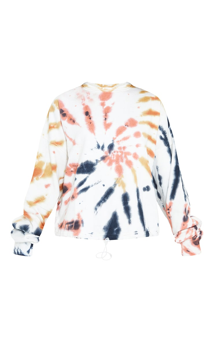 Multi Tie Dye Toggle Hem Cropped Sweater 5