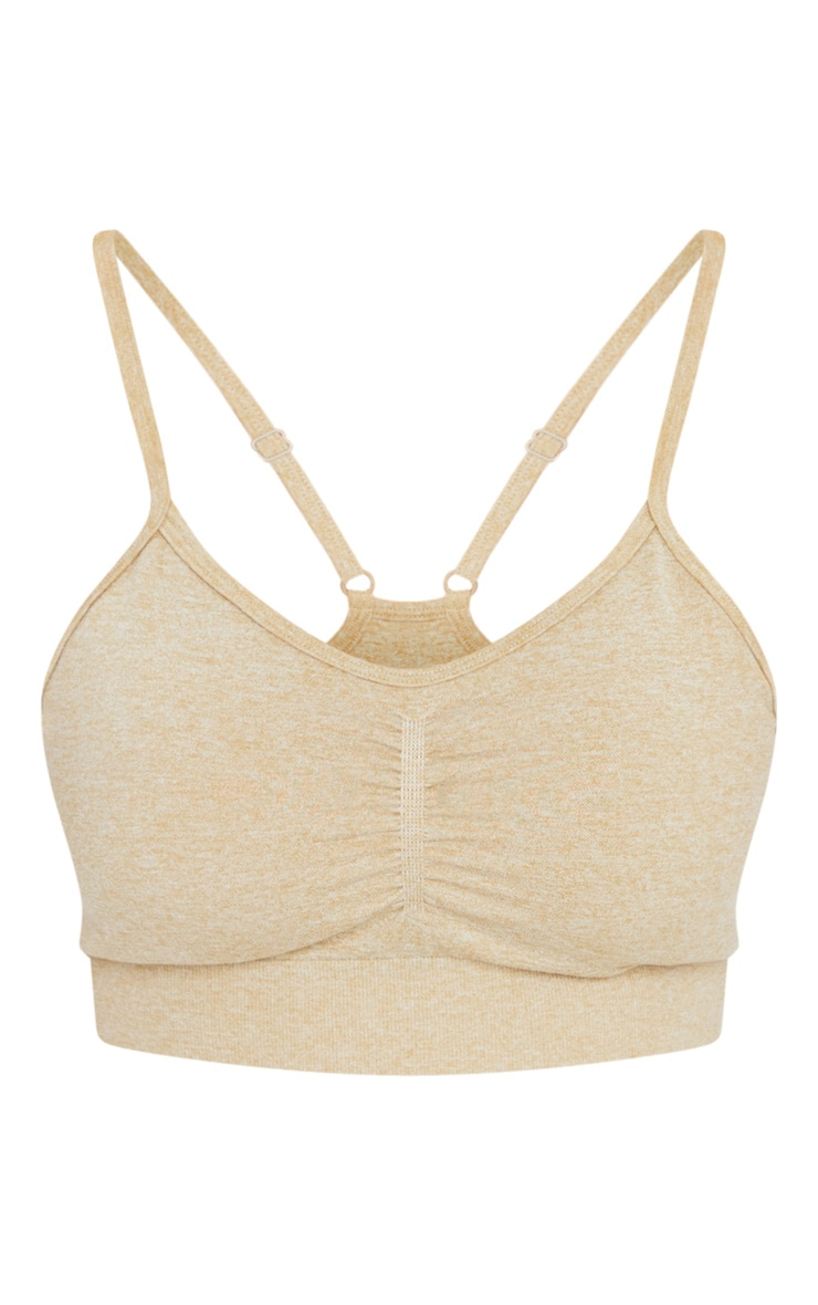 PRETTYLITTLETHING Olive Ruched Front Seamless Sports Bra 5