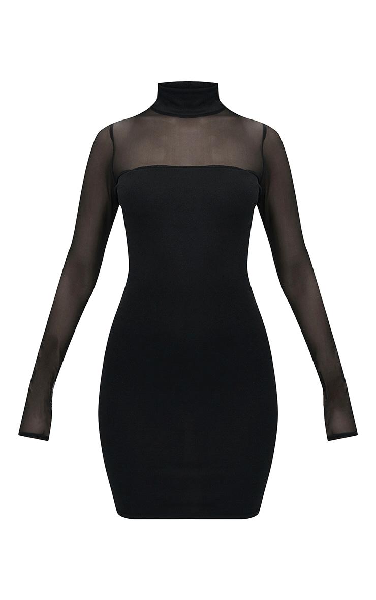 Black High Neck Mesh Panel Bodycon Dress 3