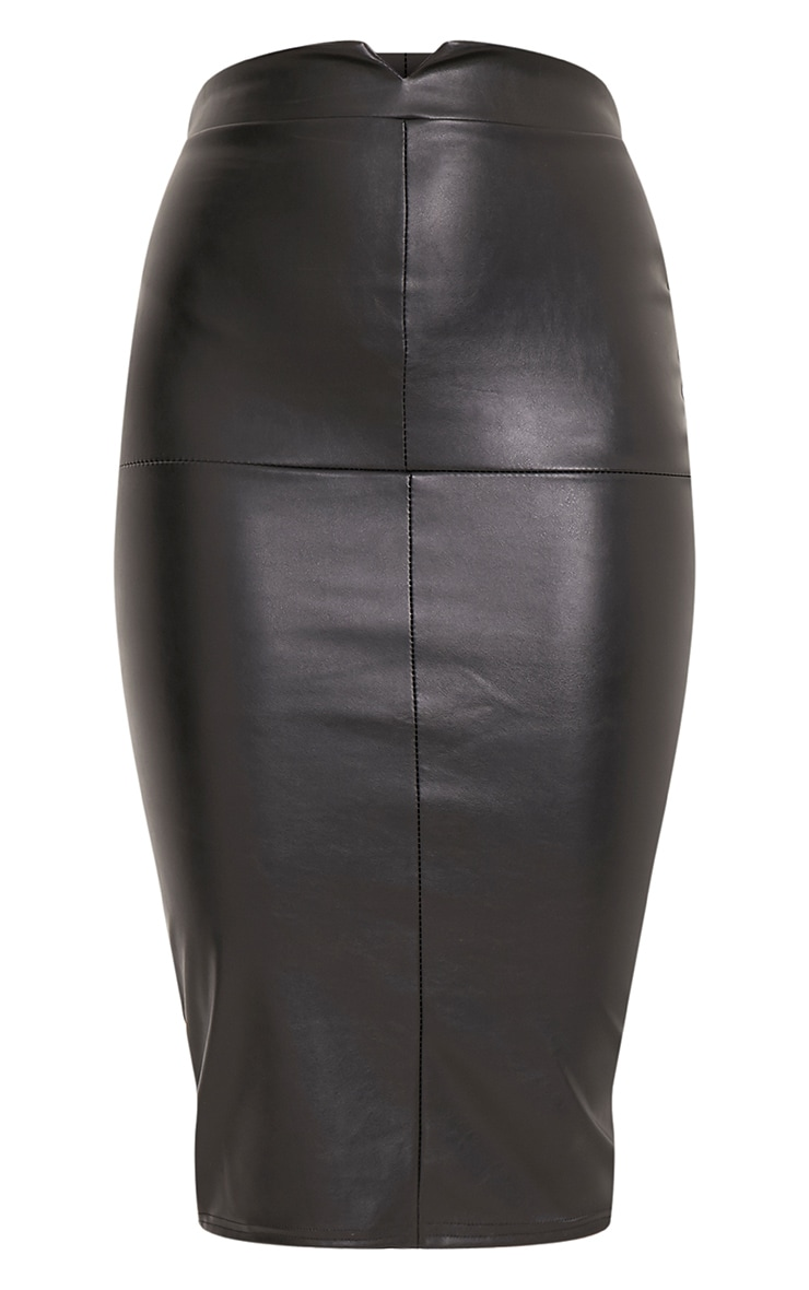 Eva Black Faux Leather Panel Midi Skirt 3