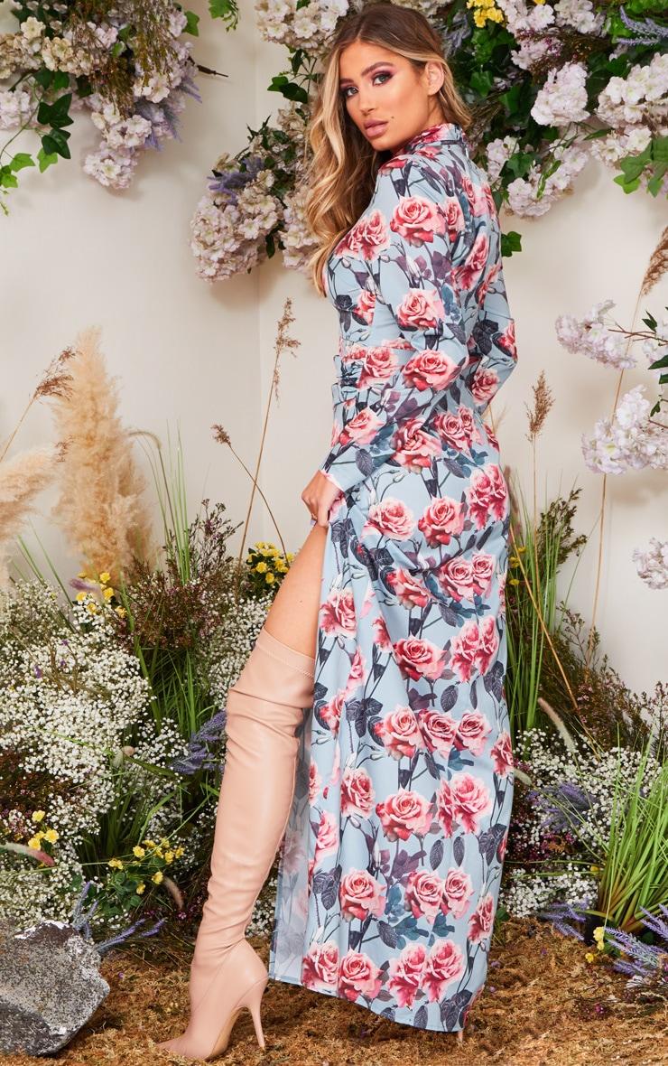 Robe longue à imprimé floral bleu cendré, taille froncée et col montant 2