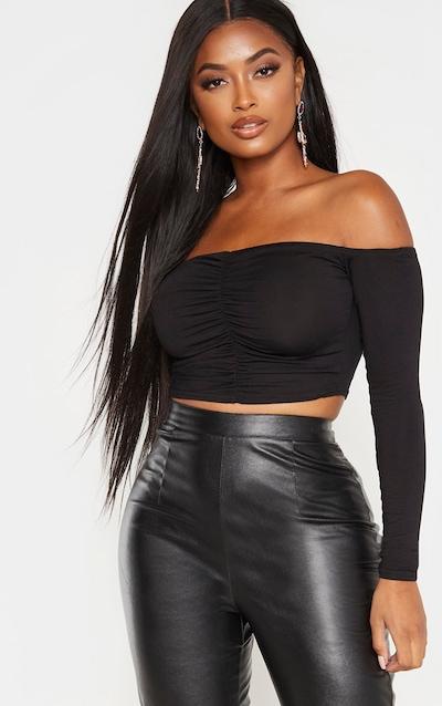 Shape Black Jersey Bardot Ruched Front Crop Top