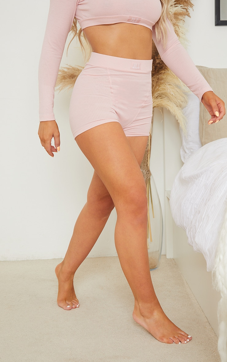 PRETTYLITTLETHING Dreams Blush Pink Badge Mix and Match Rib PJ Shorts 2