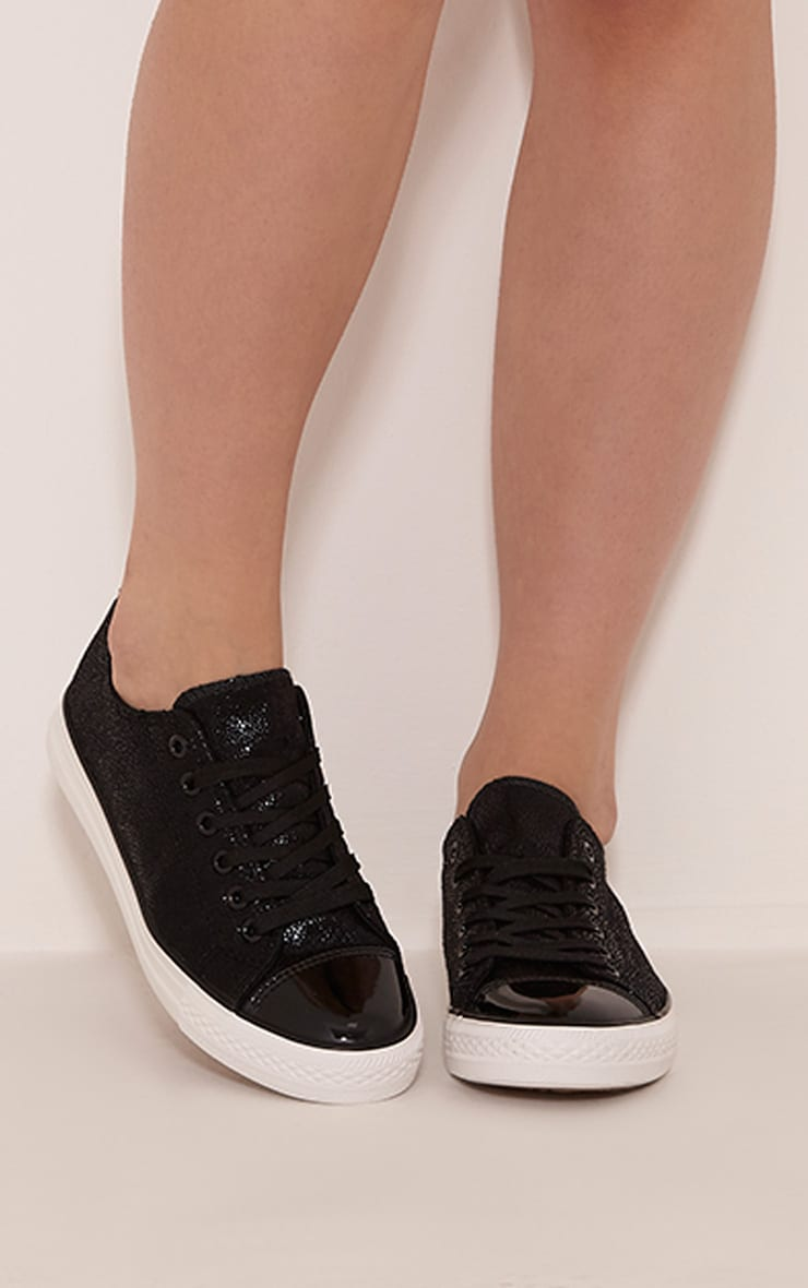 Connie Black Causual Lace Up Trainers 1
