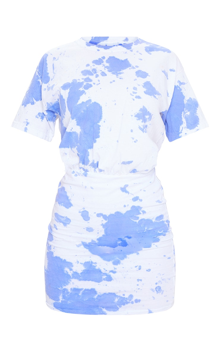 Blue Tie Dye Elastic Waist T Shirt Dress 5