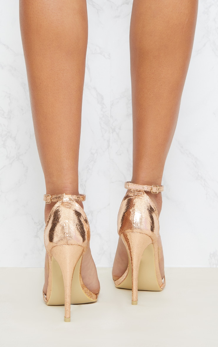 Clover Rose Gold Strap Heeled Sandals 4
