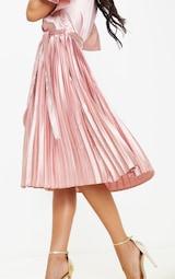 Mairee Dusty Pink Satin Pleated Midi Dress 5
