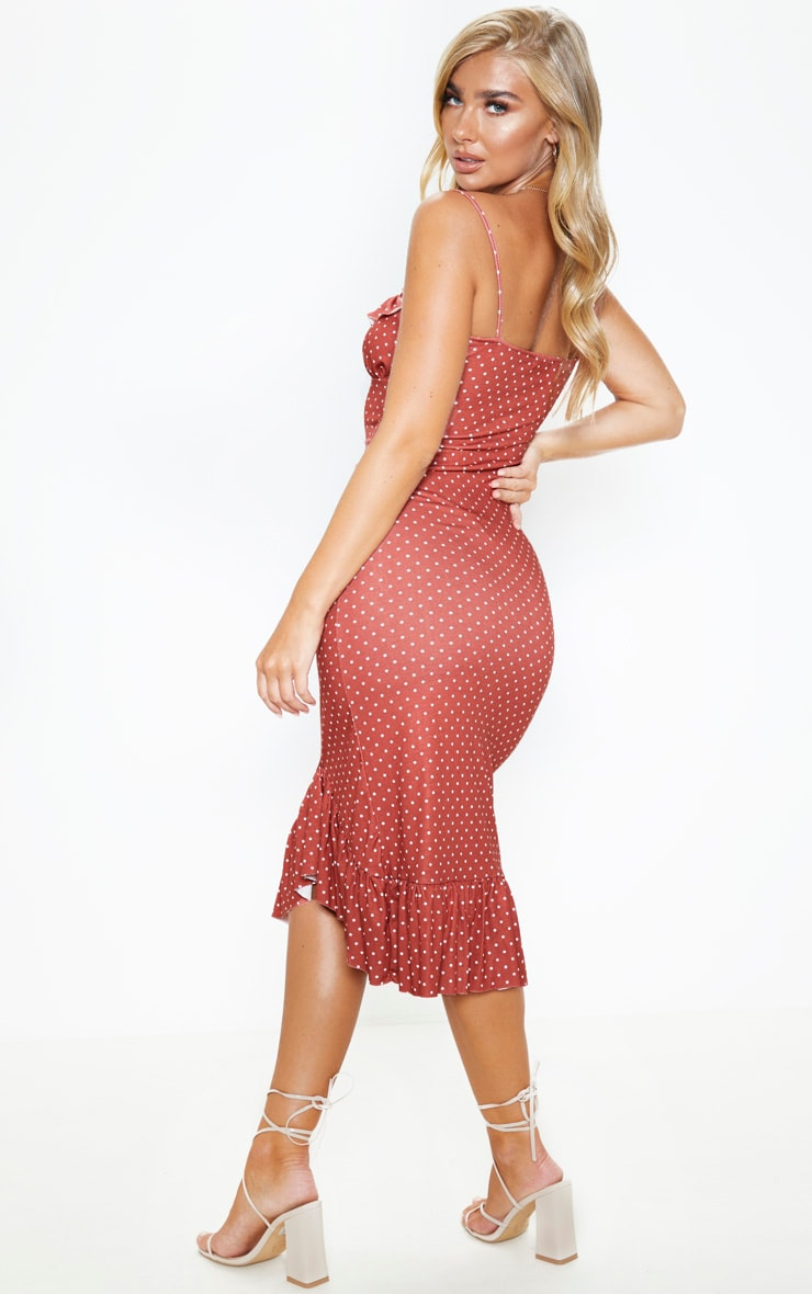 Terracotta Polka Dot Frill Hem Midi Dress 2