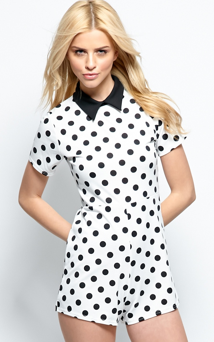 Edie White Polka Dot Collar Playsuit 1
