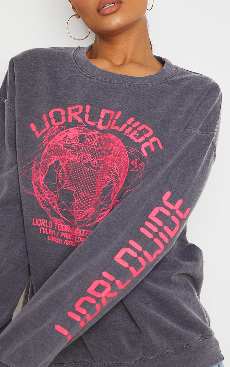 Grey Worldwide Slogan Oversized Sweatshirt 4