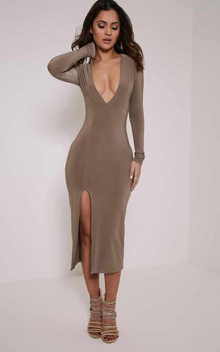 Christa Mocha Slinky Plunge Split Front Midi Dress 1