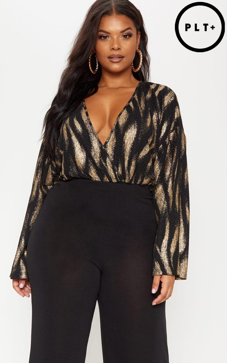 Plus Bronze Glitter Textured Drape Bodysuit  by Prettylittlething