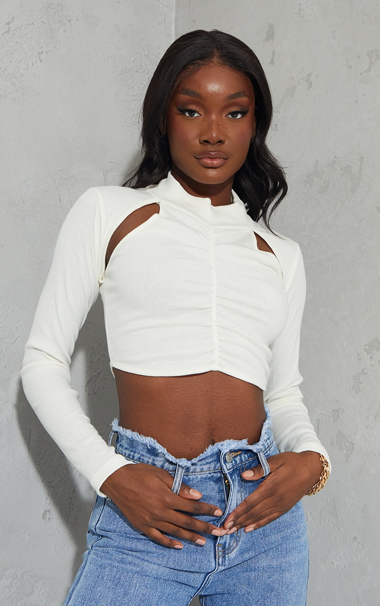 Tall Cream Ruched Ribbed  Front Crop Top 1