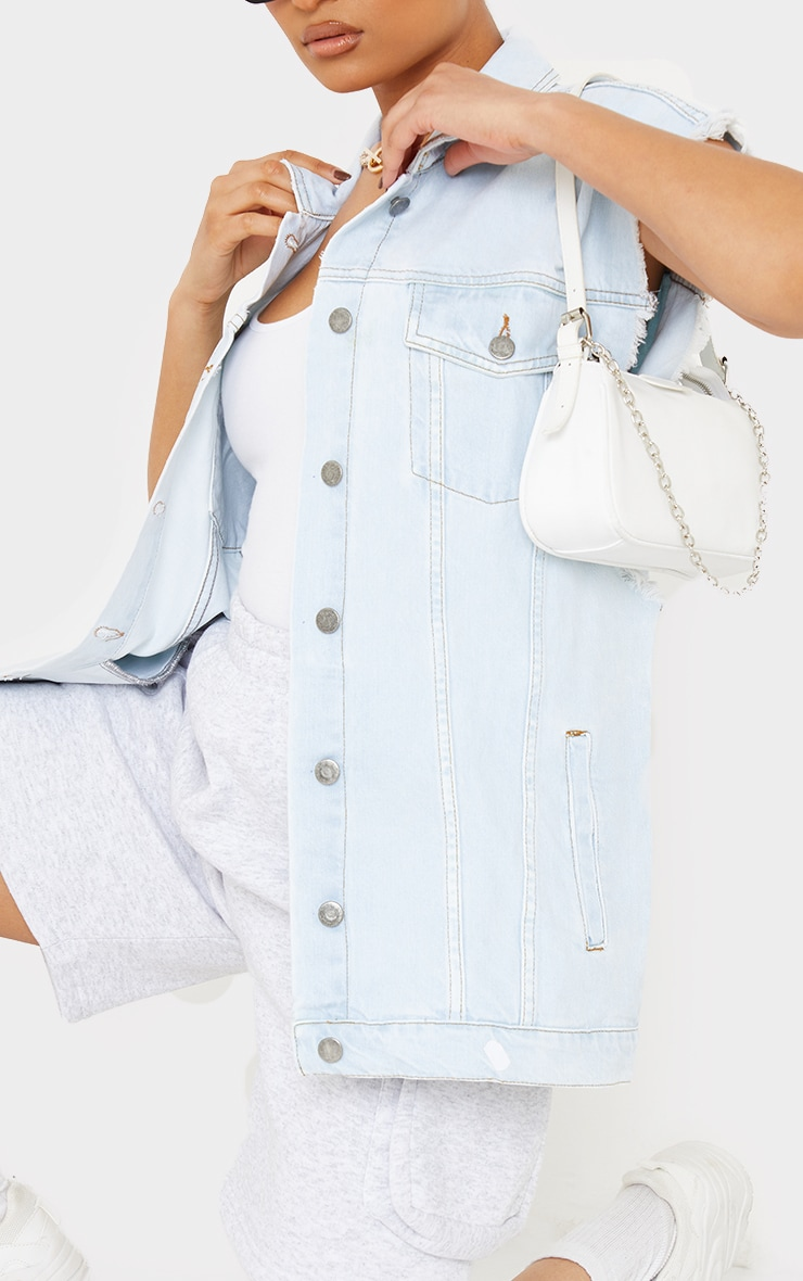 Light Blue Wash Sleeveless Denim Jacket 4