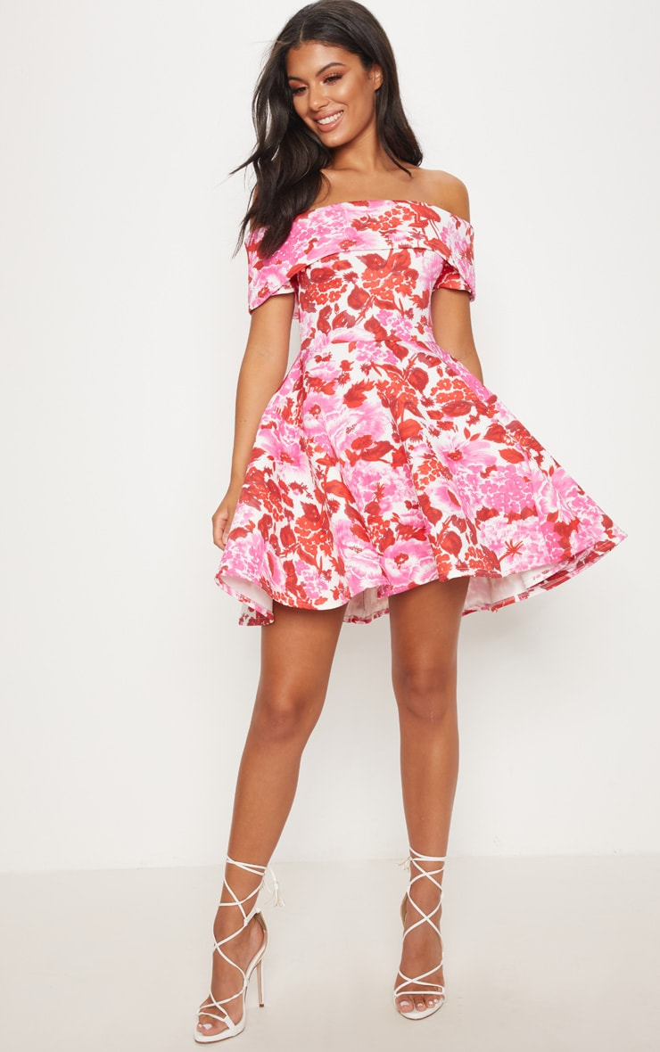 Pink Floral Scuba Bardot Skater Dress