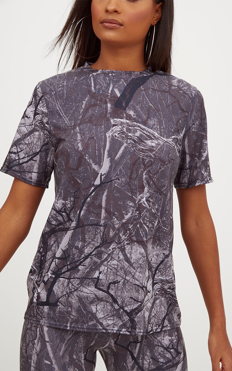 Grey Forest Print Camo Oversized T Shirt 5