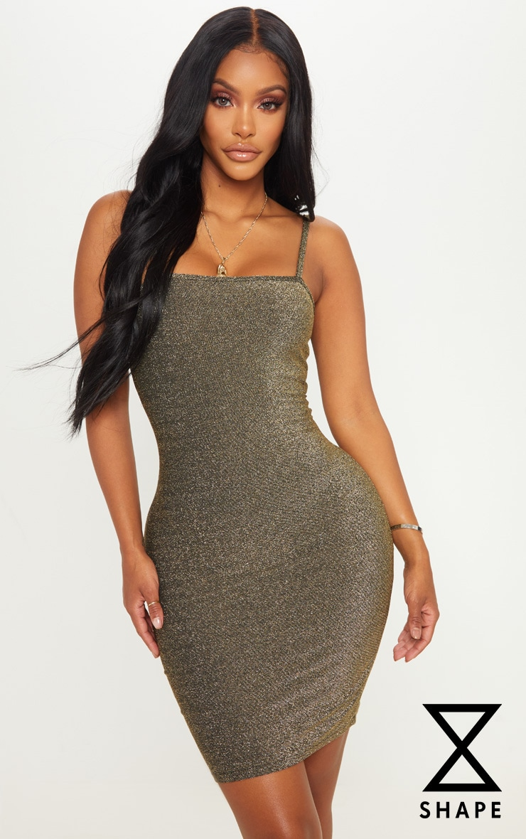 Shape Gold Textured Glitter Strappy Bodycon Dress