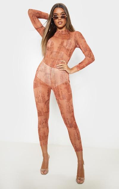 Rust Sketched Landscape Print Mesh Jumpsuit