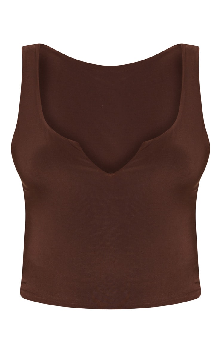 Chocolate Slinky V Neck Vest Top 3