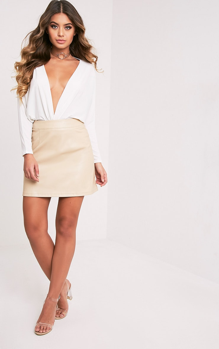 Rose Stone Faux Leather A-Line Mini Skirt 6