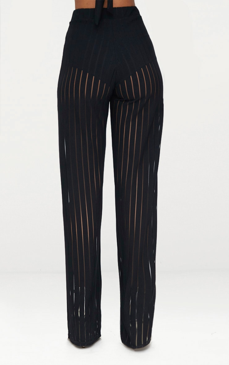 Black Mesh Stripe High Waisted Wide Leg Trousers 5