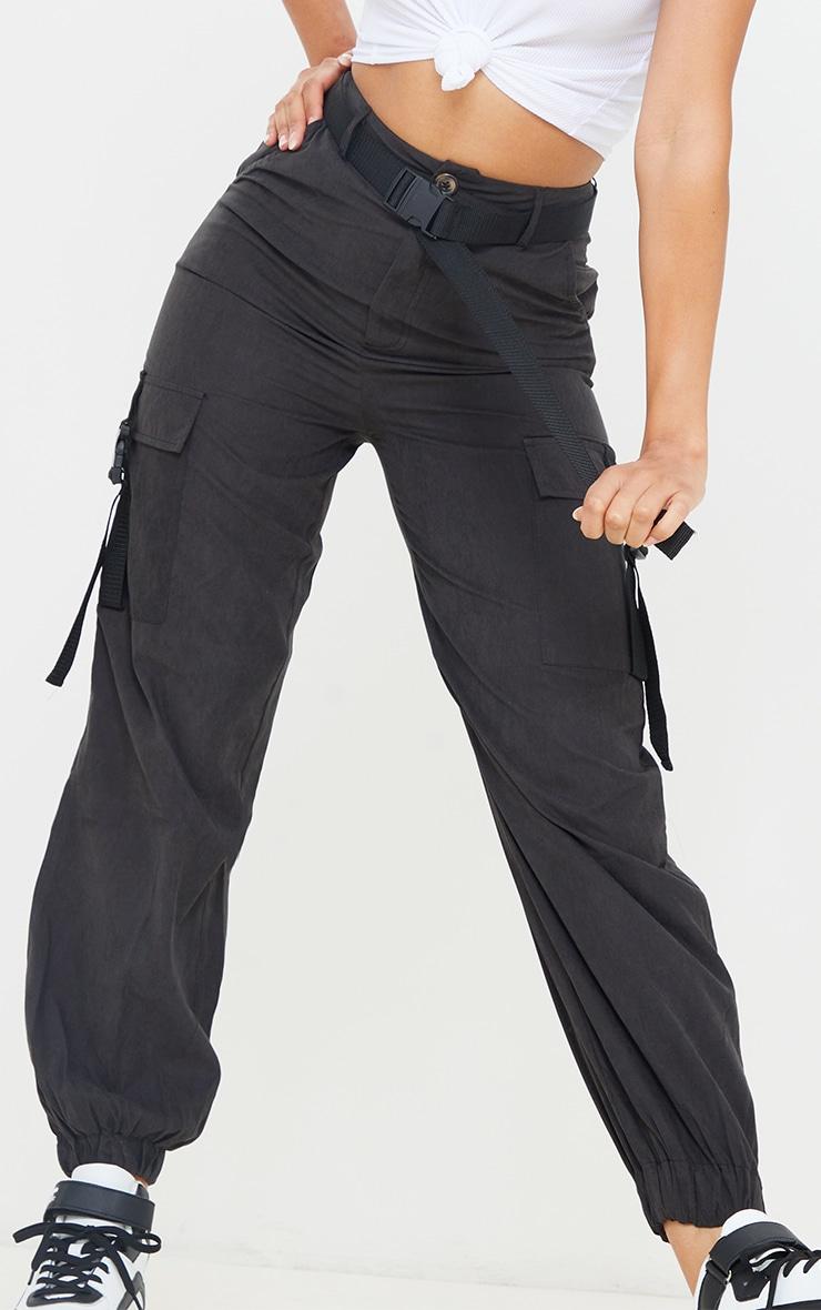 Black Buckle Detail Belted Cargo Pants 4