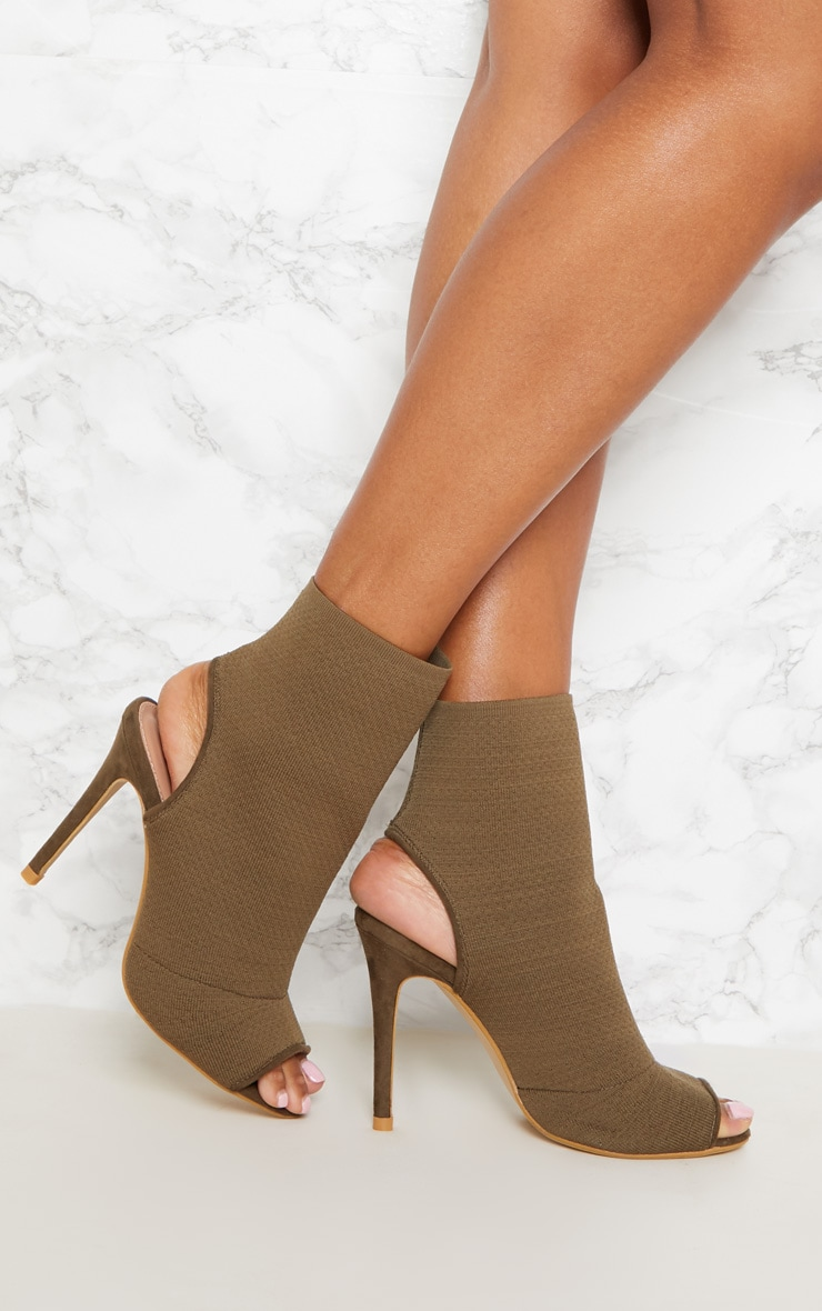Khaki Knit Peeptoe Shoe Boot 1