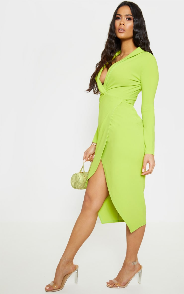 Neon Lime Plunge Split Leg Midi Dress 4