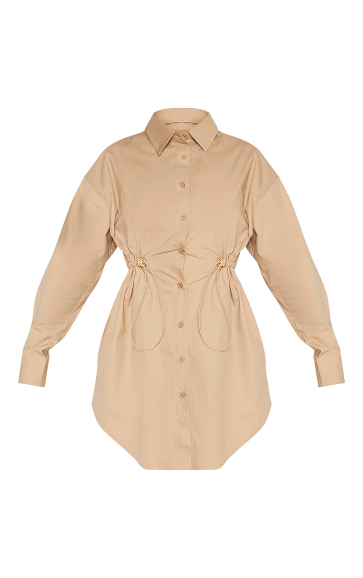 Camel Toggle Drawstring Shirt Dress 3
