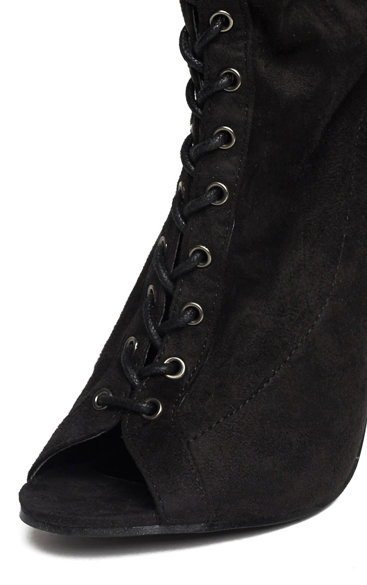 Valentina Black Suede Lace Up Thigh Boots 6