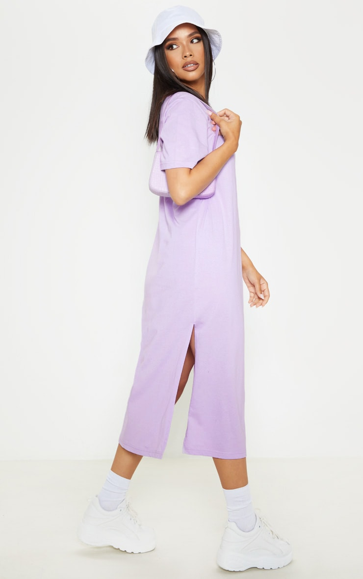 Lilac Split Side Midi T Shirt Dress 4