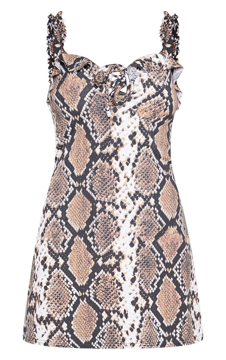 Snake Print Frill Detail Shift Dress 3