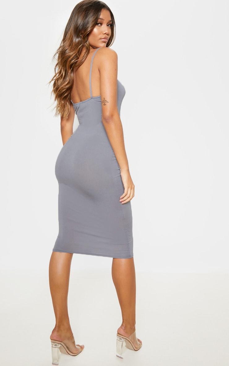 Charcoal Grey Strappy Midi Dress 2
