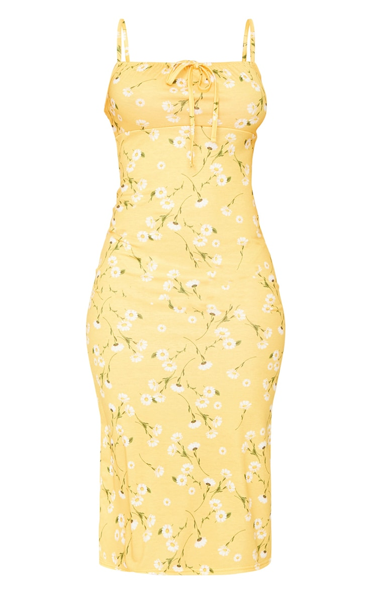 Yellow Floral Print Strappy Tie Front Midi Dress 5