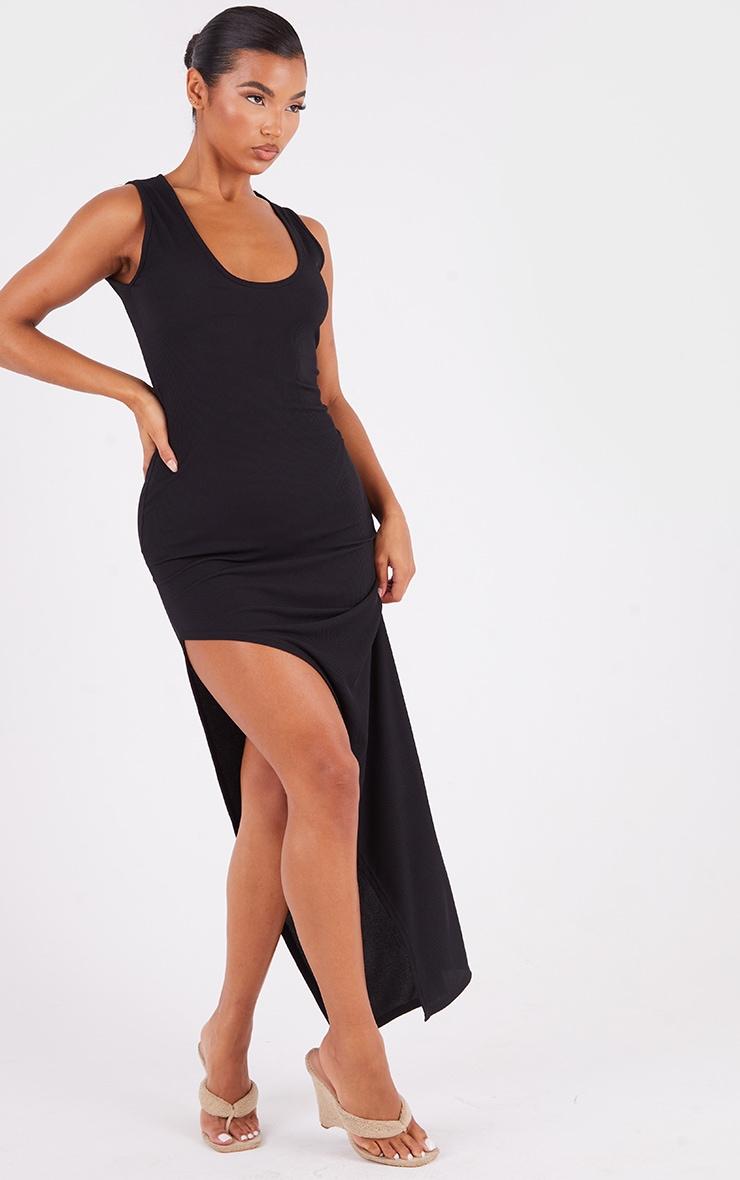Black Ribbed V Plunge Sleeveless Midaxi Dress 3