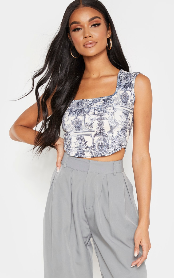 Navy Scuba Print Curve Hem Crop Top 1