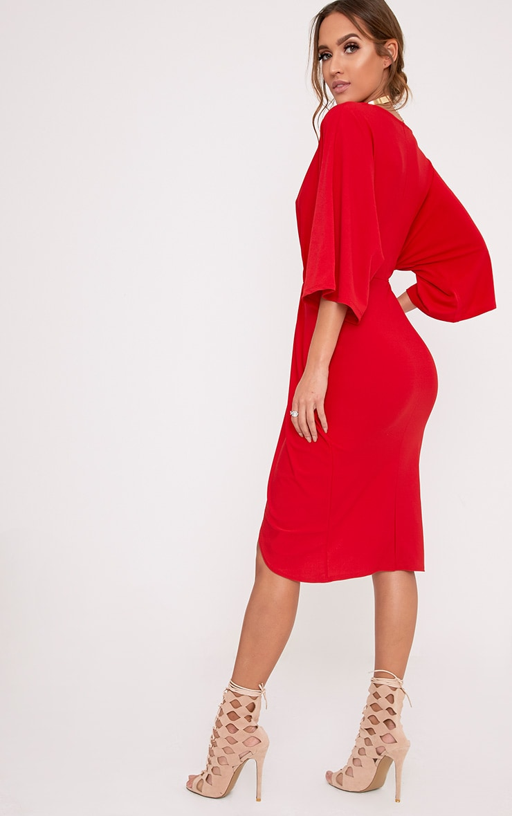 Archer Red Cape Midi Dress 2