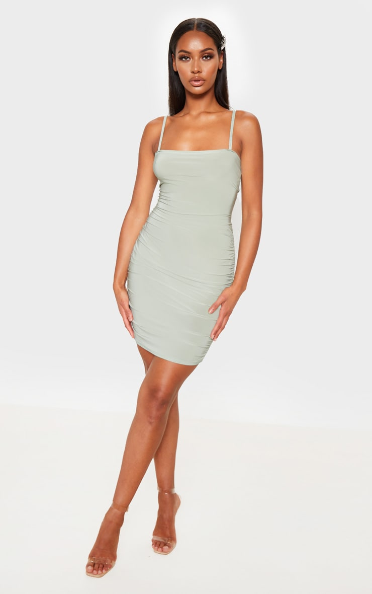 Sage Green Ruched Tie Back Strappy Bodycon Dress 4