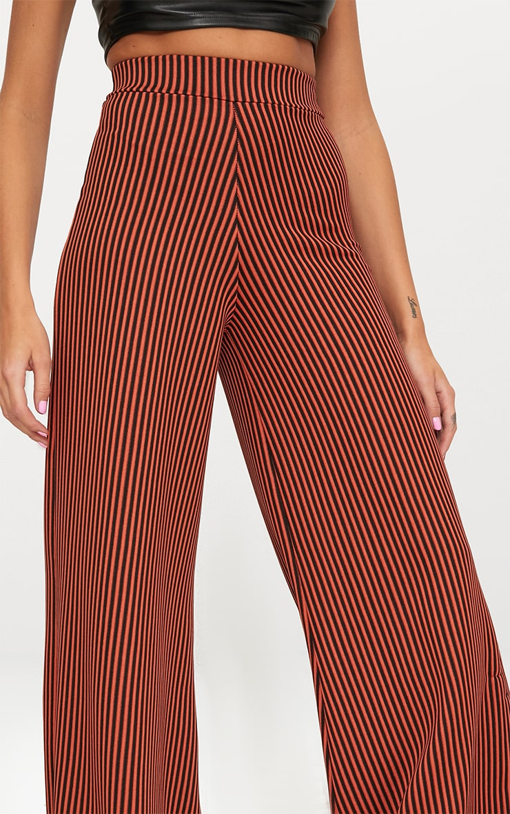 Rust Ribbed Pinstripe Wide Leg Trousers 5