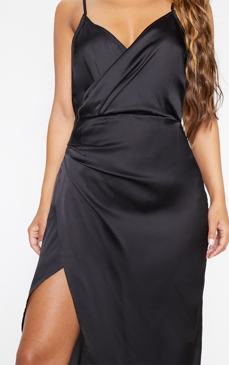 Petite Black Satin Wrap Detail Maxi Dress 5