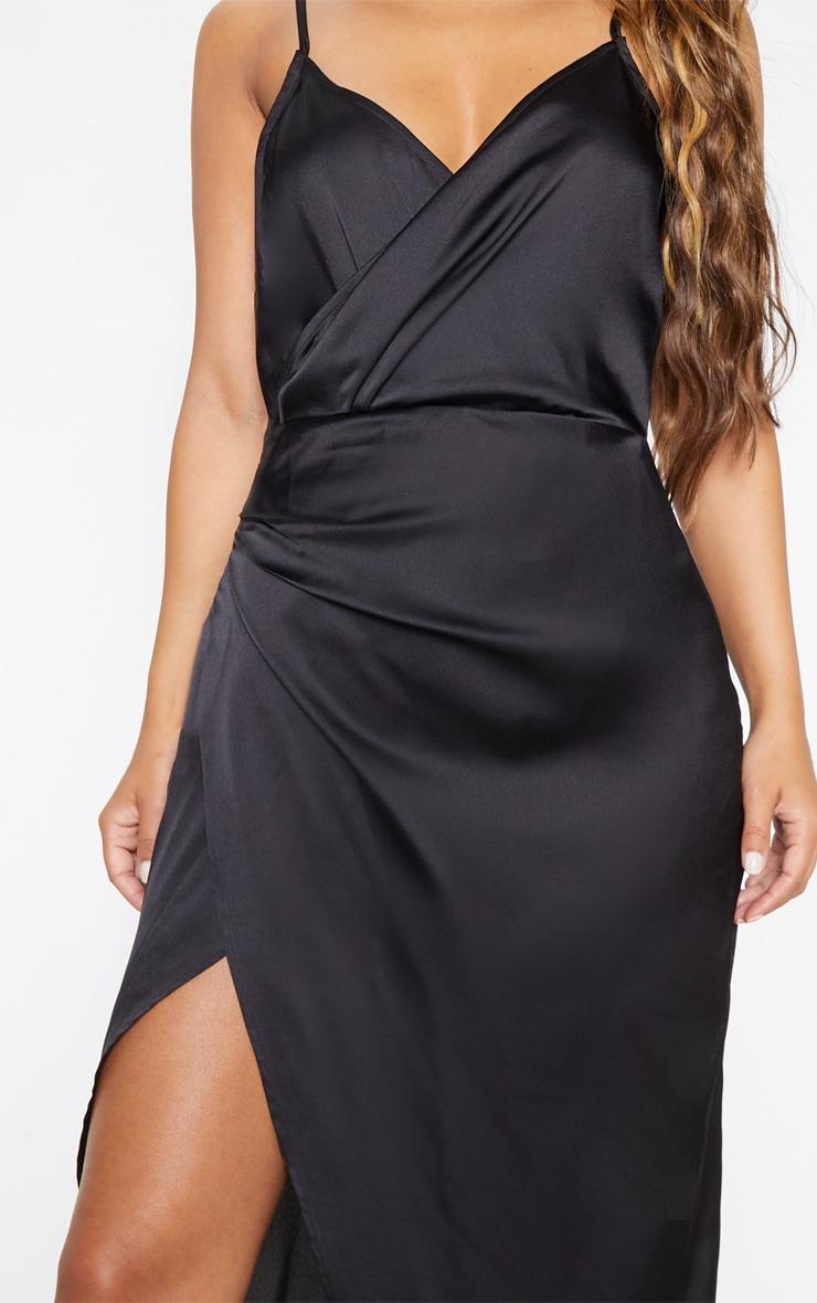 Petite - Robe longue satinée noire détail portefeuille 5