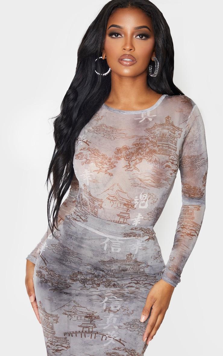 Shape Grey Oriental Printed Mesh Long Sleeved Bodysuit 1