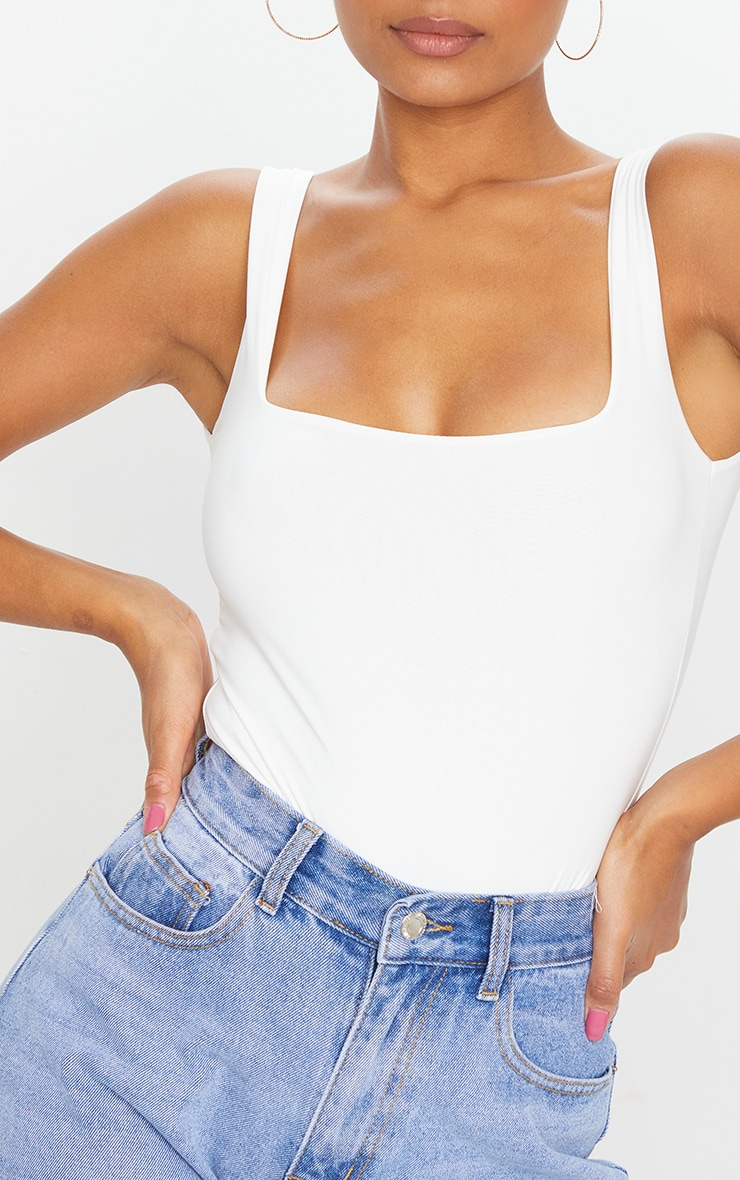 White Second Skin Square Neck Sleeveless Thong Bodysuit 4