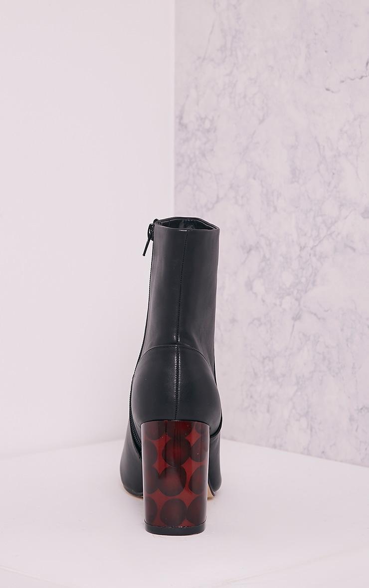 Tammi Black PU Tortoise Shell Heel Ankle Boots 4