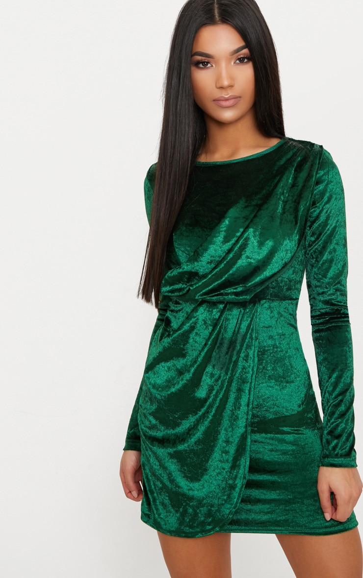 Emerald Green Long Sleeved Velvet Wrap Detail Bodycon Dress 1