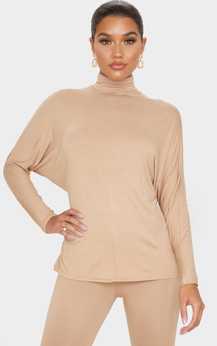 Camel Jersey High Neck Long Top 1