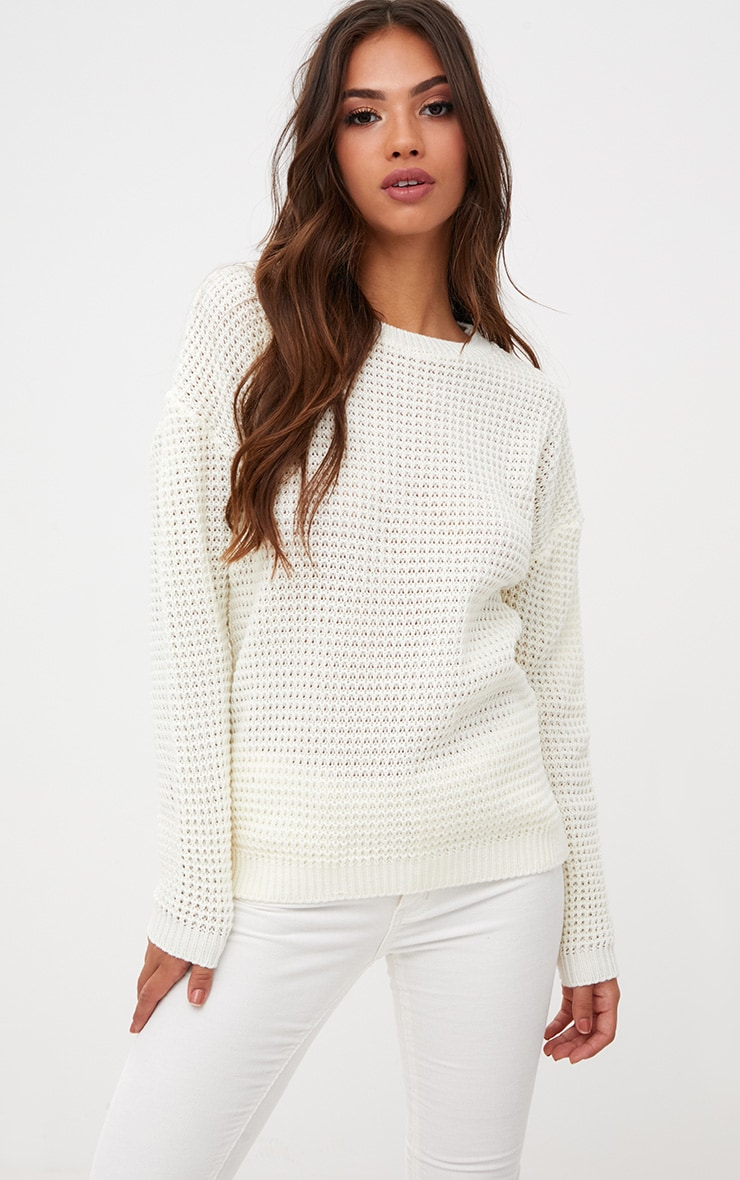 Cream Oversized Basic Jumper 1